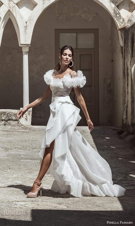 pinella passaro 2021 bridal off shoulder ruffle straps scallop neckline embellished bodice tiered skirt a line wedding dress chapel train (10) mv