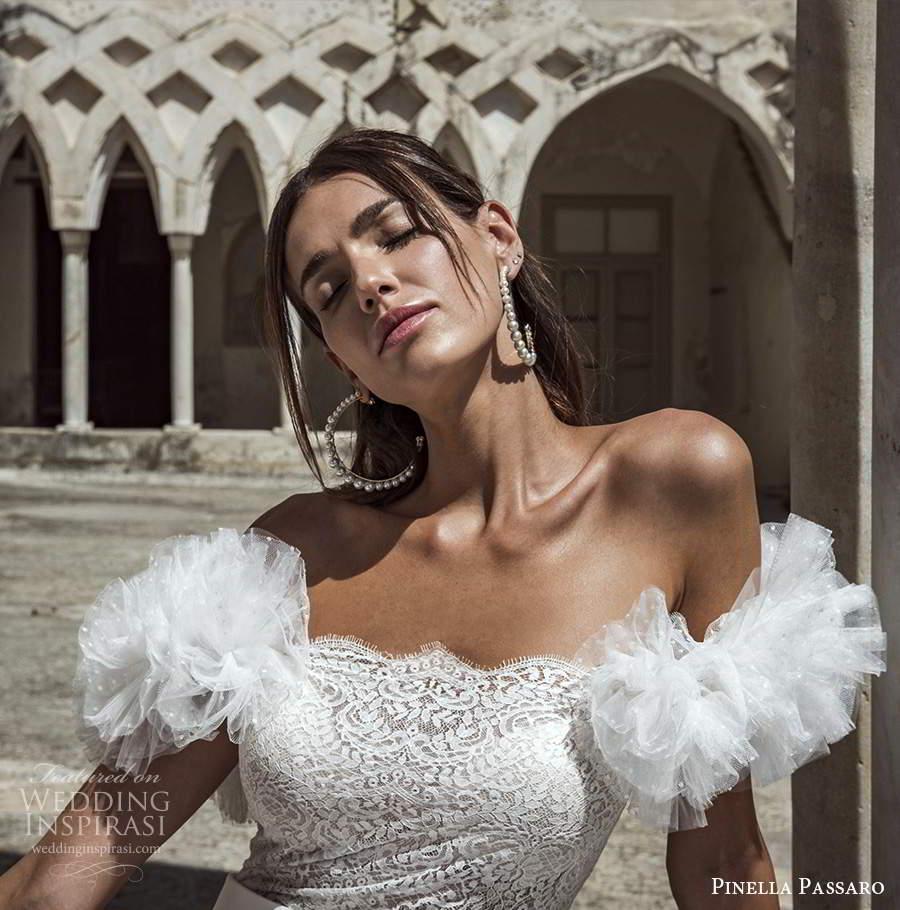 pinella passaro 2021 bridal off shoulder ruffle straps scallop neckline embellished bodice tiered skirt a line wedding dress chapel train (10) zv