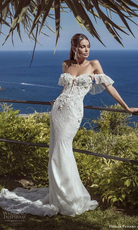 pinella passaro 2021 bridal off shoulder ruffle straps sweetheartneckline heavily embellished bodice sheath wedding dress chapel train (16) mv
