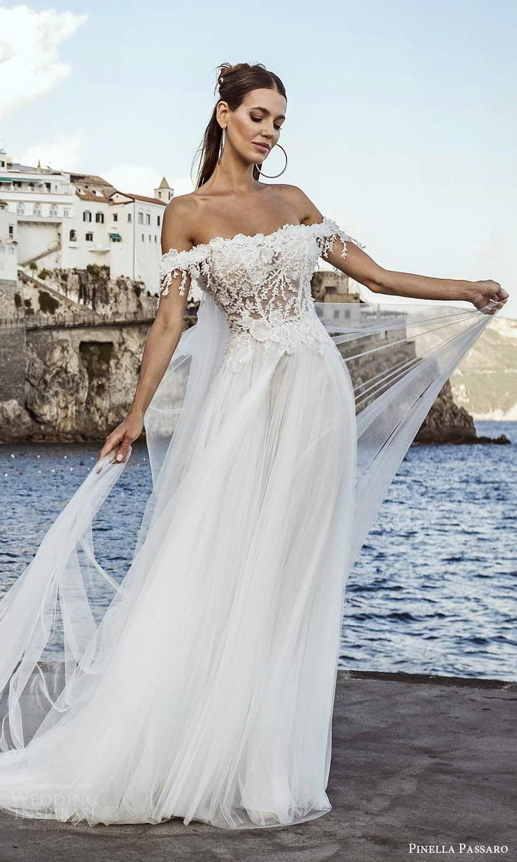 pinella passaro 2021 bridal off shoulder straps semi sweetheart heavily embellished bodice a line ball gown wedding dress chapel train (20) mv
