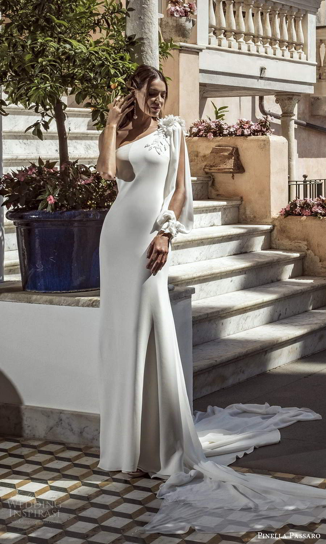 pinella passaro 2021 bridal one shoulder split bishop sleeve asymmetric neckline clean minimalist sheath wedding dress chapel watteau train (19) mv