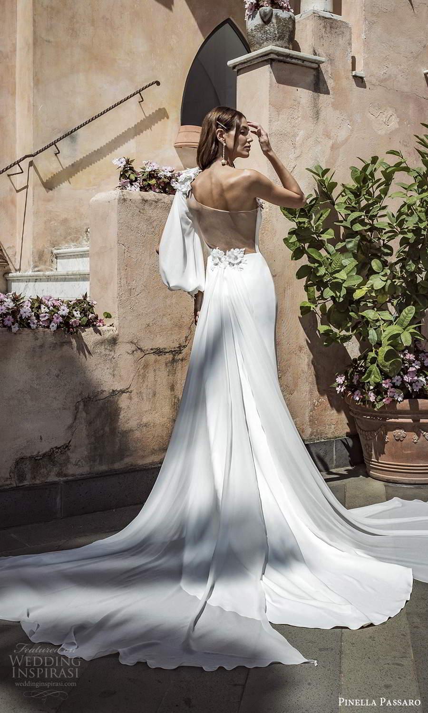 pinella passaro 2021 bridal one shoulder split bishop sleeve asymmetric neckline clean minimalist sheath wedding dress chapel watteau train sheer back (19) bv