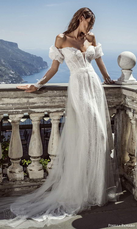 pinella passaro 2021 bridal sheer long puff sleeves plunging sweetheart neckline fully embellished sheath wedding dress a line overskirt chapel train (12) mv