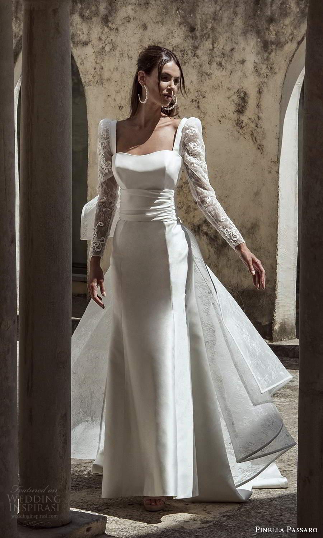 pinella passaro 2021 bridal sheer long puff sleeves semi sweetheart neckline clean minimalist sheath wedding dress a line overskirt chapel train (11) mv