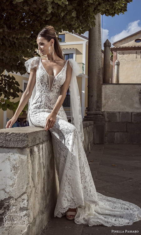 pinella passaro 2021 bridal sleeveless bow straps plunging v neckline fully embellished lace sheath wedding dress chapel train (15) mv