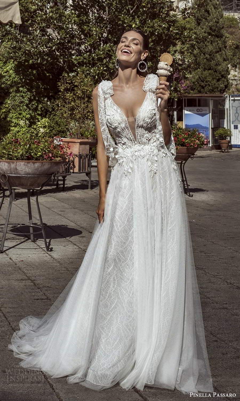 pinella passaro 2021 bridal sleeveless bow straps plunging v neckline heavily embellished bodice a line ball gown wedding dress chapel train (13) fv