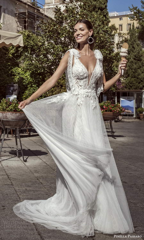 pinella passaro 2021 bridal sleeveless bow straps plunging v neckline heavily embellished bodice a line ball gown wedding dress chapel train (13) mv