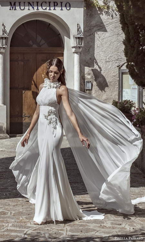 pinella passaro 2021 bridal sleeveless embellished halter neckline clean minimalist fit flare mermaid wedding dress chapel train (23) mv