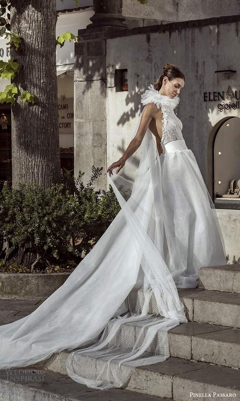 pinella passaro 2021 bridal sleeveless halter neckline fully embellished sheath wedidng dress ball gown overskirt chapel train (14) mv