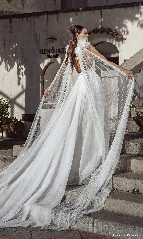 pinella passaro 2021 bridal sleeveless halter neckline fully embellished sheath wedidng dress ball gown overskirt chapel train scoop back (14) bv