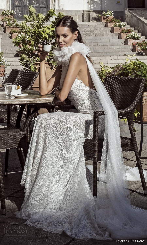 pinella passaro 2021 bridal sleeveless halter neckline fully embellished sheath wedidng dress chapel train scoop back (14) sv