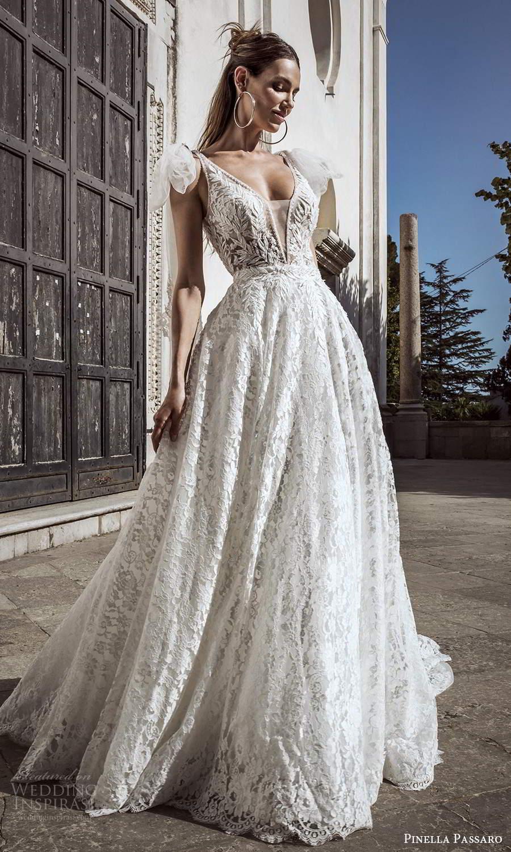pinella passaro 2021 bridal sleeveless straps plunging v neckline fully embellished a line ball gown wedding dress chapel train (9) mv