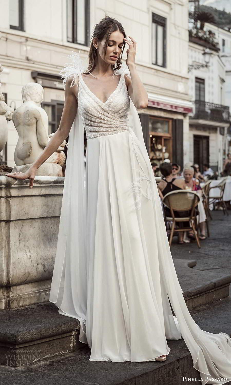 pinella passaro 2021 bridal sleeveless straps surplice v neckline embellished bodice clean skirt a line wedding dress chapel train (7) mv