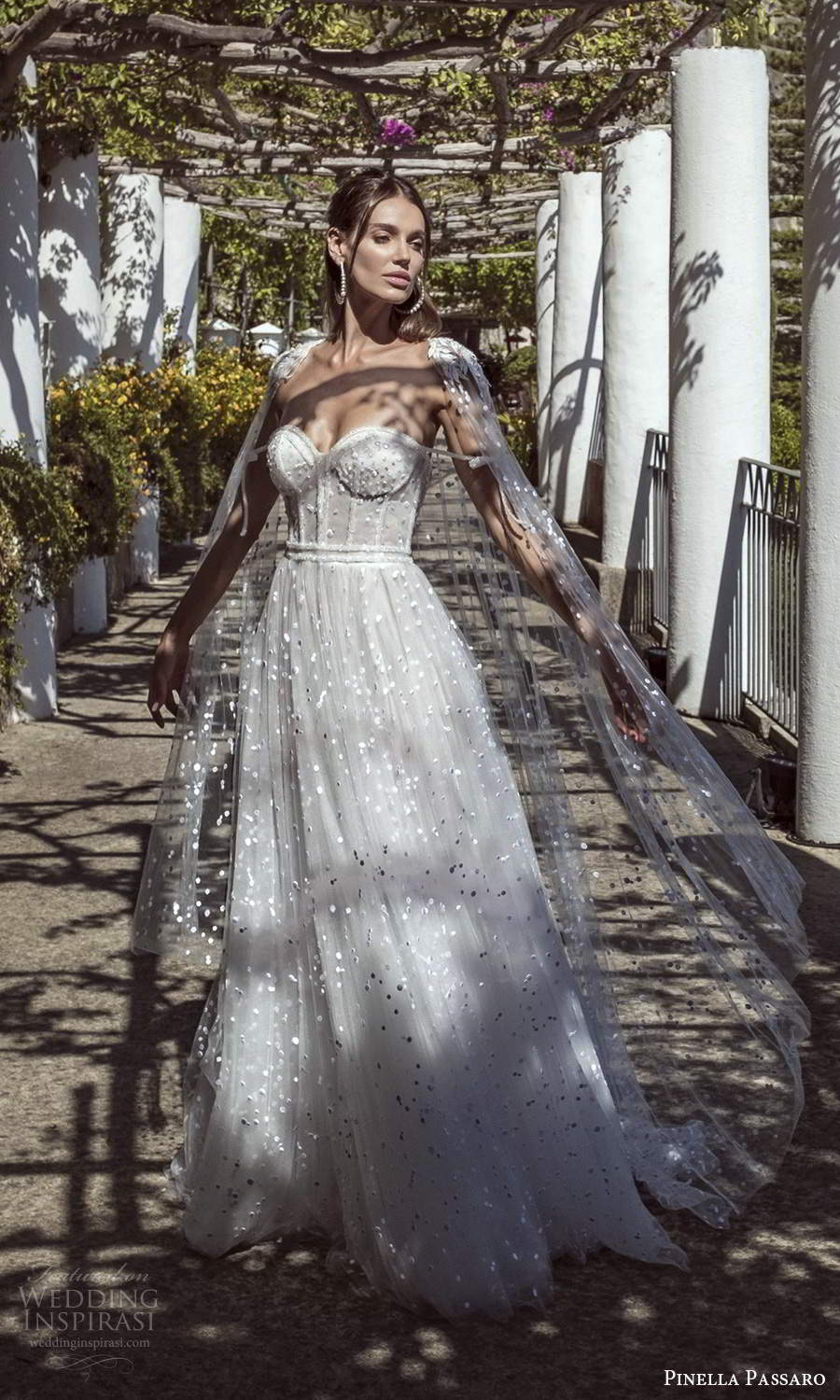 pinella passaro 2021 bridal strapless sweetheart necline fully embellished a line ball gown wedding dress chapel train sheer cape (18) mv