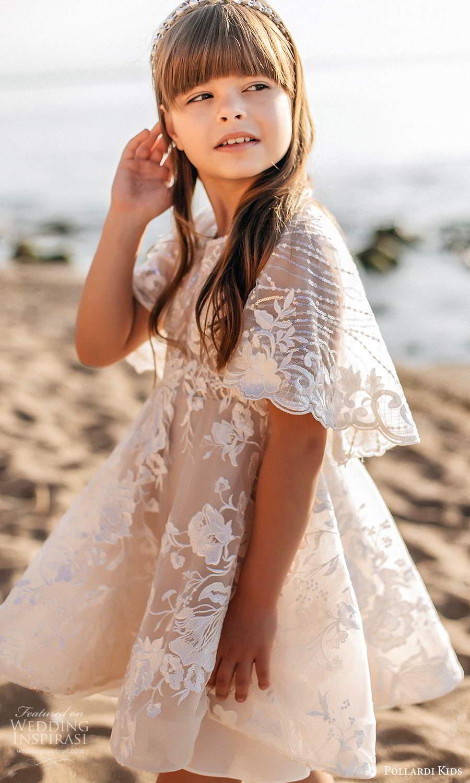 pollardi kids 2021 childrens flutter sleeves jewel neckline fully embellished lace shrot a line flower girl dress (13) mv