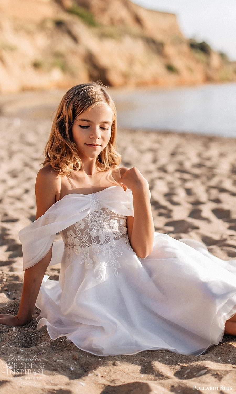 pollardi kids 2021 childrens off shoulder straps semi sweetheart neckline embellished bodice a line short flower girl dress (19) mv