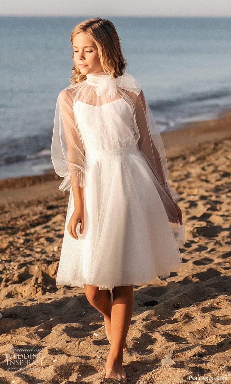 pollardi kids 2021 childrens sheer 3 quarter sleeves high neckline short flower girl dress (20) mv