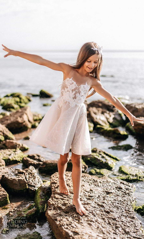 pollardi kids 2021 childrens sleeveless sheer straps sweetheart neckline embellished bodice a line short flower girl dress (14) mv