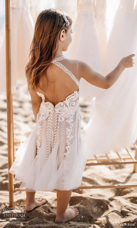 pollardi kids 2021 childrens sleeveless straps sweetheart neckline fully embellished tea length flower girl dress blush (17) bv