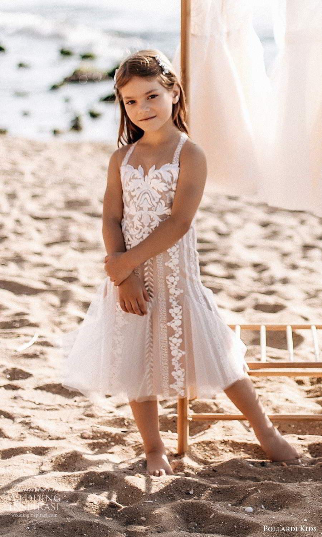 pollardi kids 2021 childrens sleeveless straps sweetheart neckline fully embellished tea length flower girl dress blush (17) mv