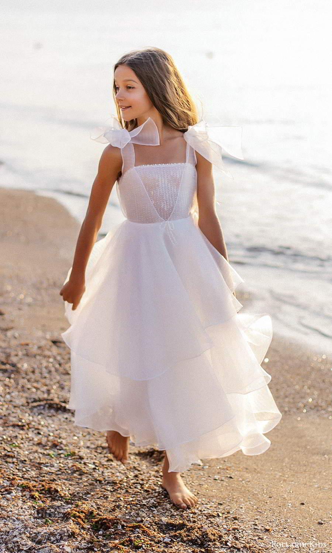 pollardi kids 2021 childrens sleeveless thick straps straight across neckline tea length flower girl dress (5) mv