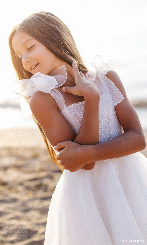 pollardi kids 2021 childrens sleeveless thick straps straight across neckline tea length flower girl dress (5) zv