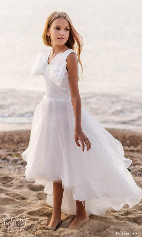 pollardi kids 2021 childrens sleeveless thick straps v neckline bow bodice a line high low flower girl dress (18) mv
