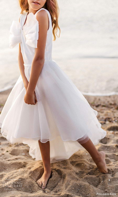 pollardi kids 2021 childrens sleeveless thick straps v neckline bow bodice a line high low flower girl dress (18) zv