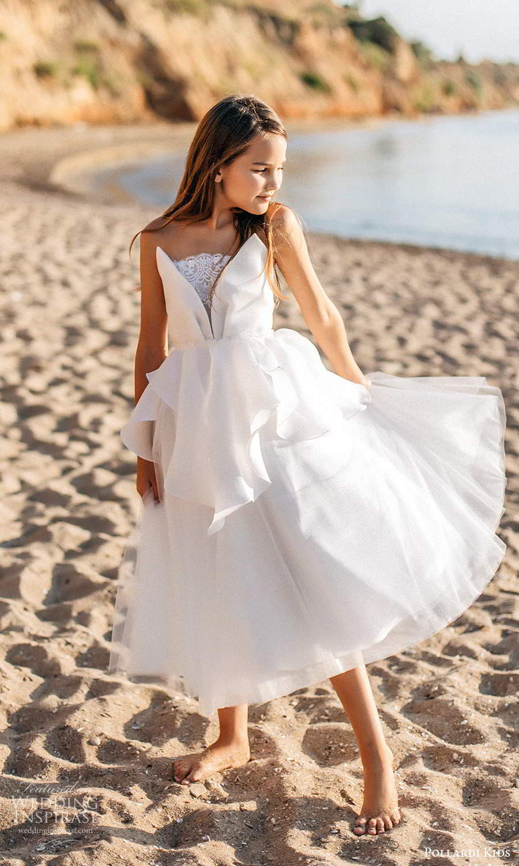 pollardi kids 2021 childrens strapless crumbcatcher neckline embellished lace bodice tea length a line flower girl dress (10) mv