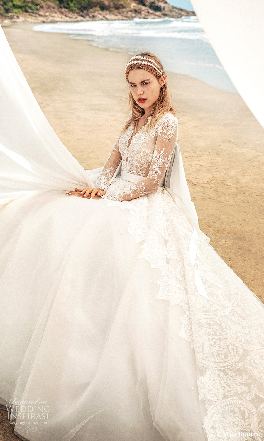whisper bridal spring 2021 bridal illusion long sleeves plunging v neckline lace bodice a line ball gown wedding dress chapel train (12) mv