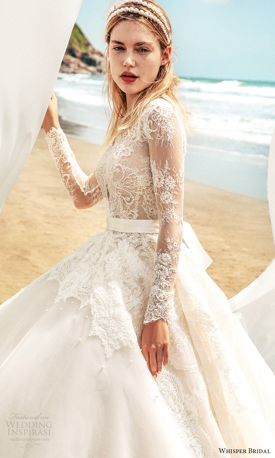 whisper bridal spring 2021 bridal illusion long sleeves plunging v neckline lace bodice a line ball gown wedding dress chapel train (12) zv