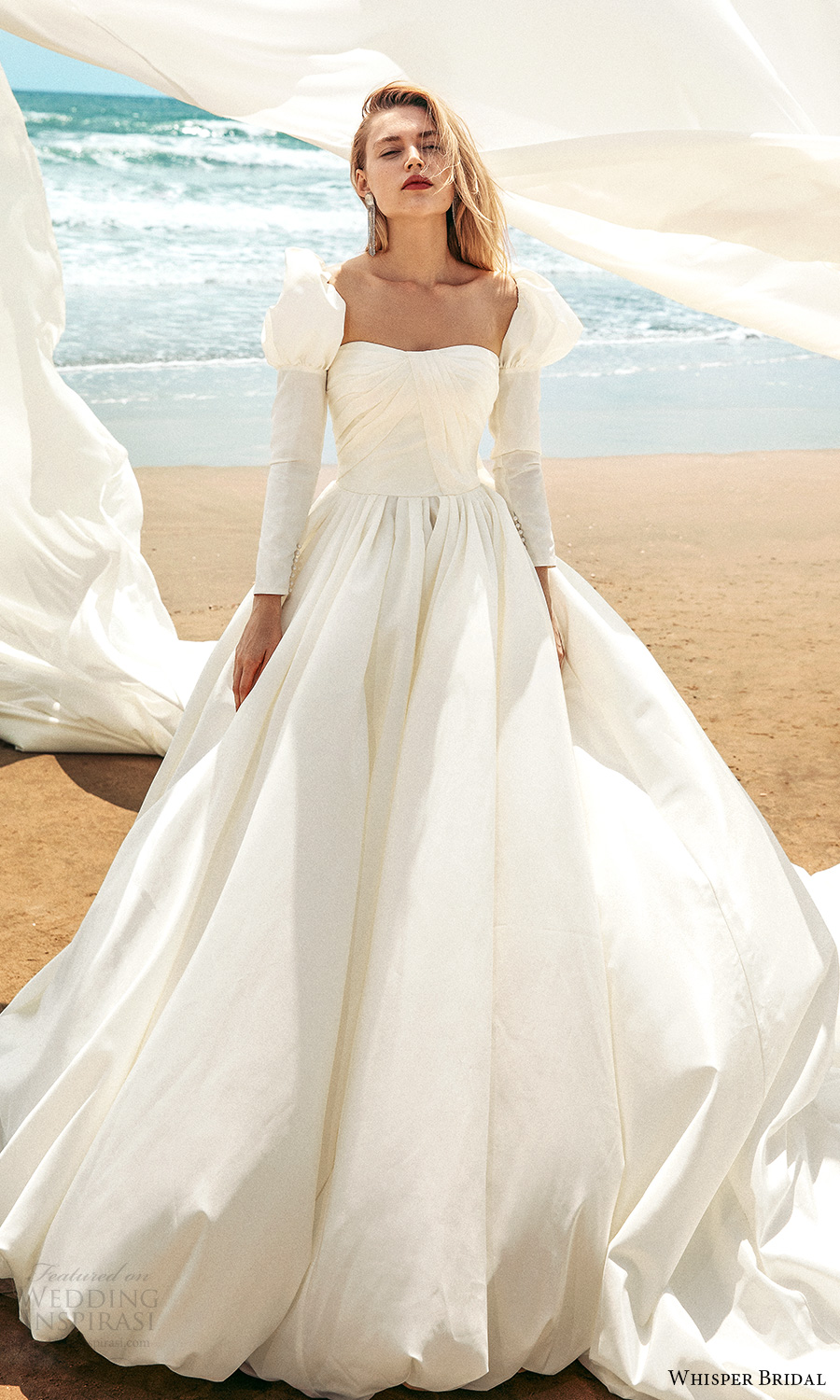 whisper bridal spring 2021 bridal long puff sleeves semi sweetheart neckline clean minimalist a line ball gown wedding dress chapel train (5) mv