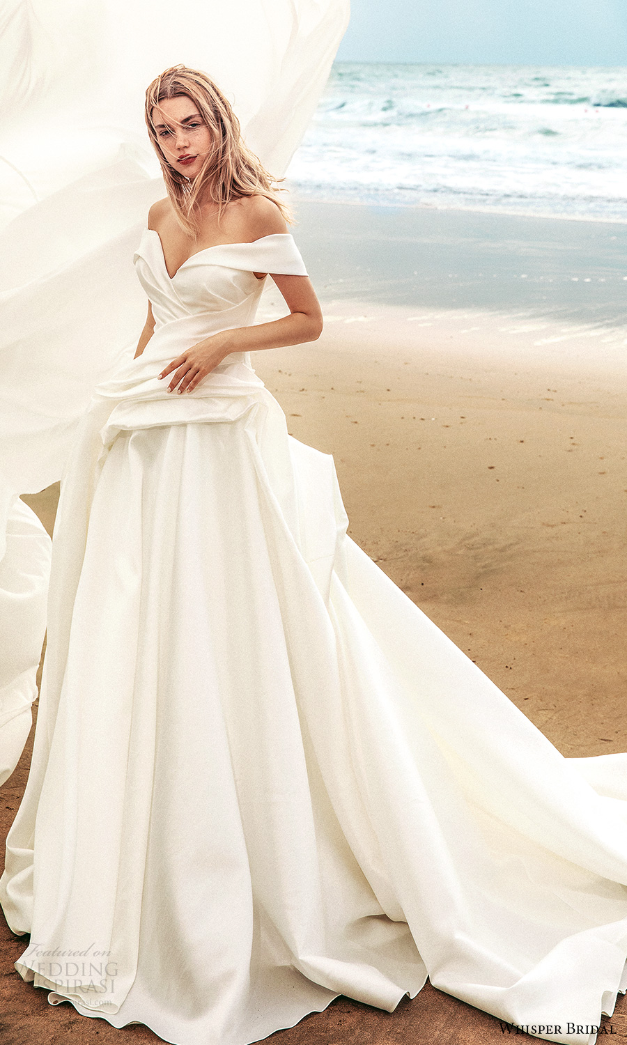 whisper bridal spring 2021 bridal off shoulder straps sweetheart neckline clean minimalist a line ball gown wedding dress chapel train (8) mv