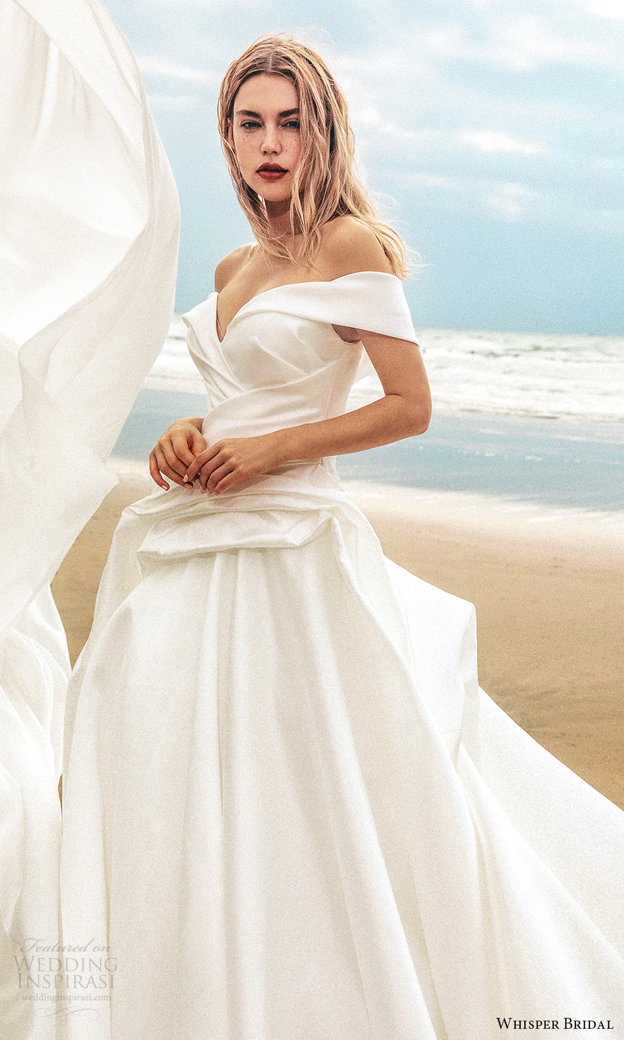 whisper bridal spring 2021 bridal off shoulder straps sweetheart neckline clean minimalist a line ball gown wedding dress chapel train (8) zv
