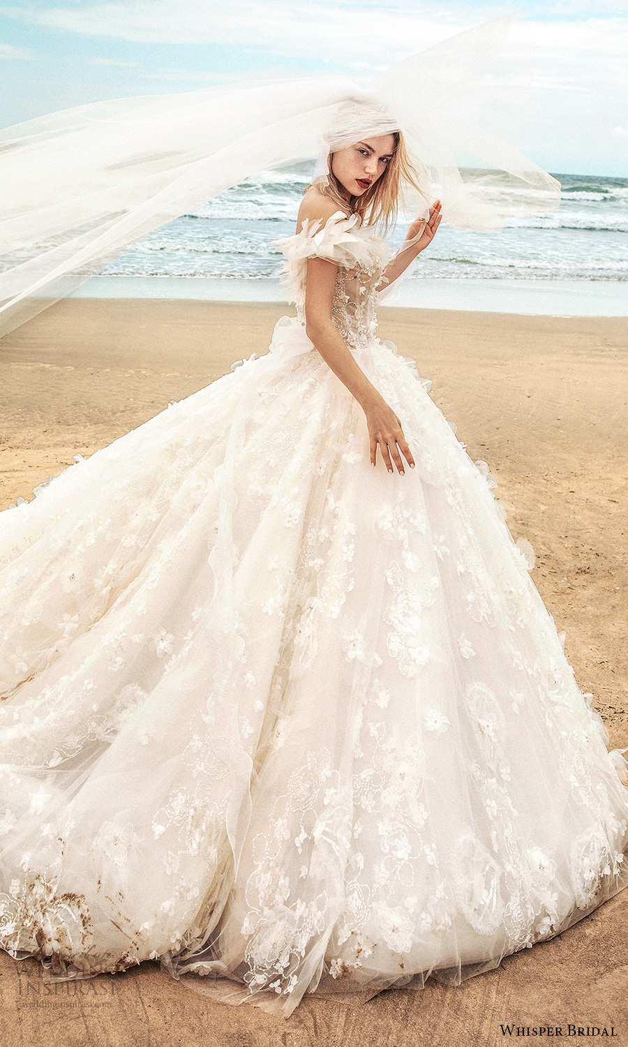 whisper bridal spring 2021 bridal off shoulder straps sweetheart neckline fully embellished a line ball gown wedding dress chapel train (13) sv
