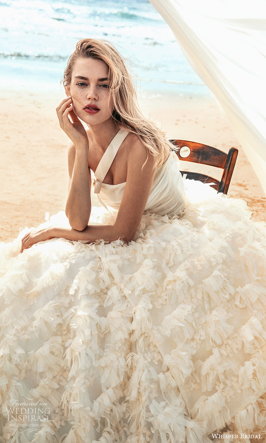 whisper bridal spring 2021 bridal one shoulder strap straight across neckline ruched bodice ruffle skirt a line ball gown wedding dress cathedral train (4) zv