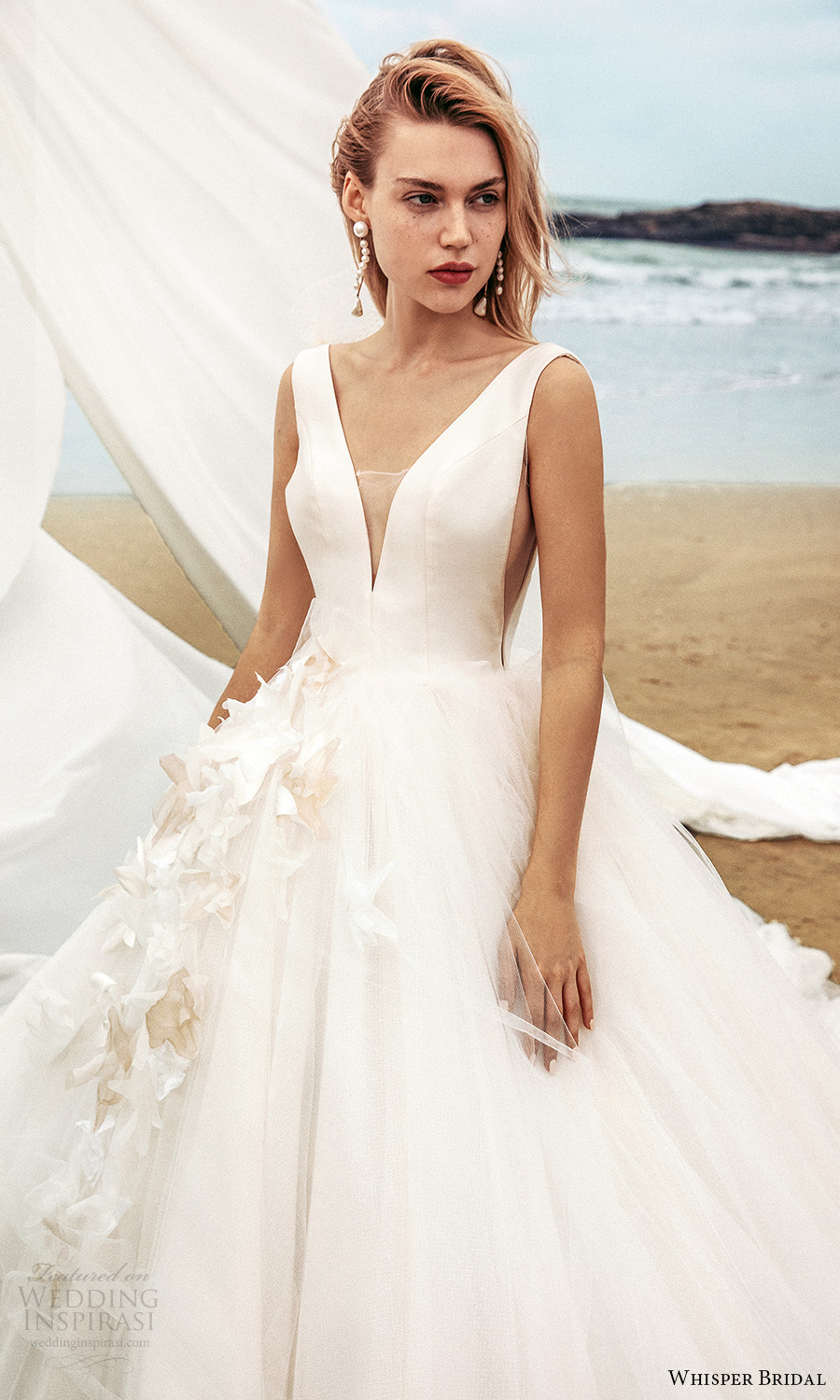 whisper bridal spring 2021 bridal sleeveless straps v neckline clean minimalist a line ball gown wedding dress chapel train (17) zv