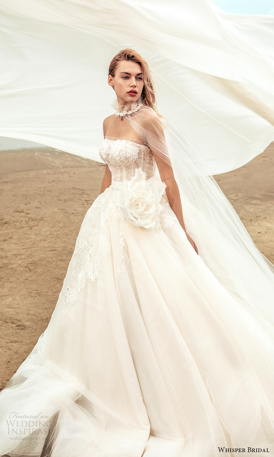 whisper bridal spring 2021 bridal strapless straight across neckline embellished bodice a line ball gown wedding dress chapel train sheer cape (16) mv