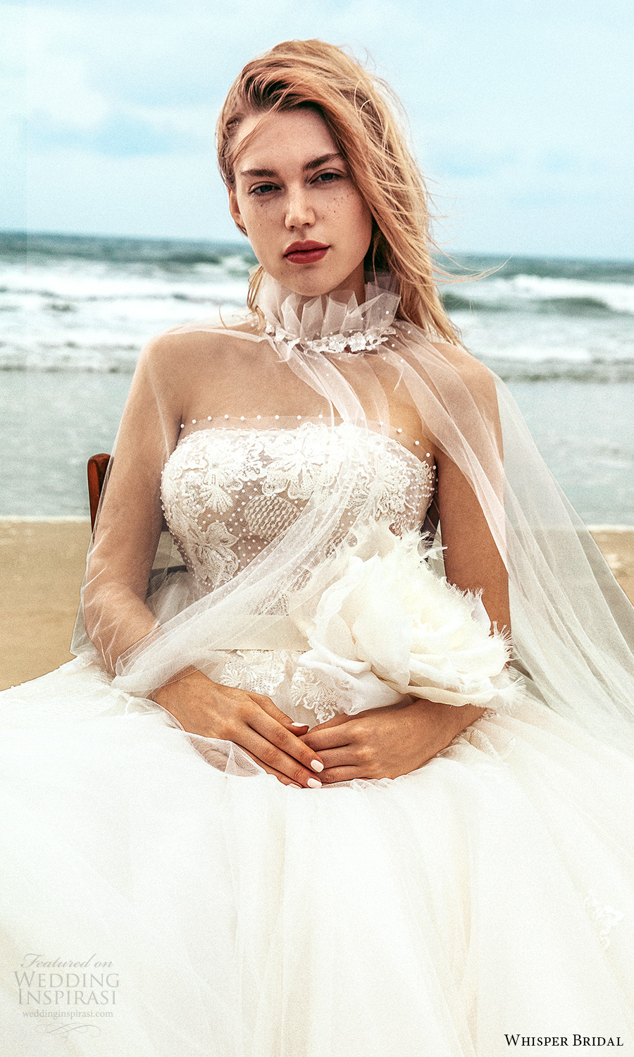 whisper bridal spring 2021 bridal strapless straight across neckline embellished bodice a line ball gown wedding dress chapel train sheer cape (16) zv
