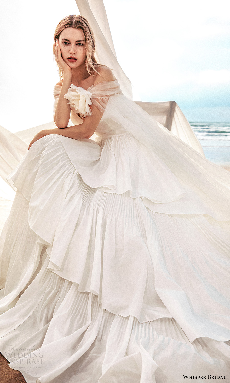 whisper bridal spring 2021 bridal strapless sweetheart neckline clean bodice a line ball gown wedding dress tiered skirt chapel train sheer shrug (9) sv