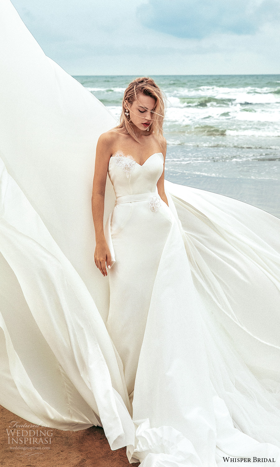 whisper bridal spring 2021 bridal strapless sweetheart neckline clean minimalist sheath wedding dress chapel train (10) mv