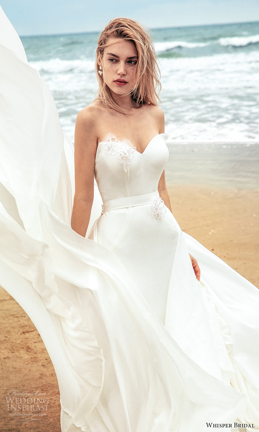 whisper bridal spring 2021 bridal strapless sweetheart neckline clean minimalist sheath wedding dress chapel train (10) zv