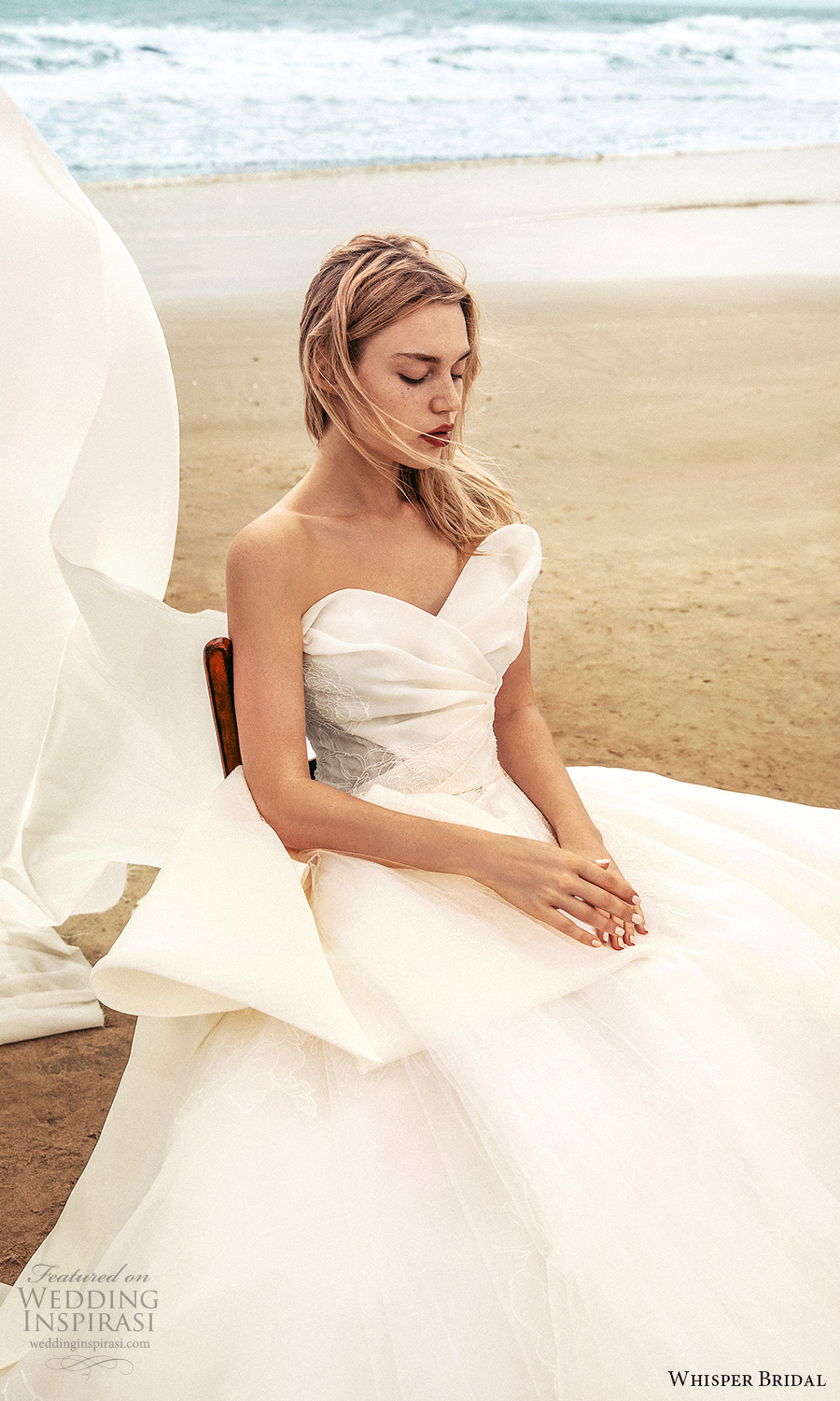 whisper bridal spring 2021 bridal strapless sweetheart neckline ruched bodice a line ball gown wedding dress bow waist chapel train (15) mv