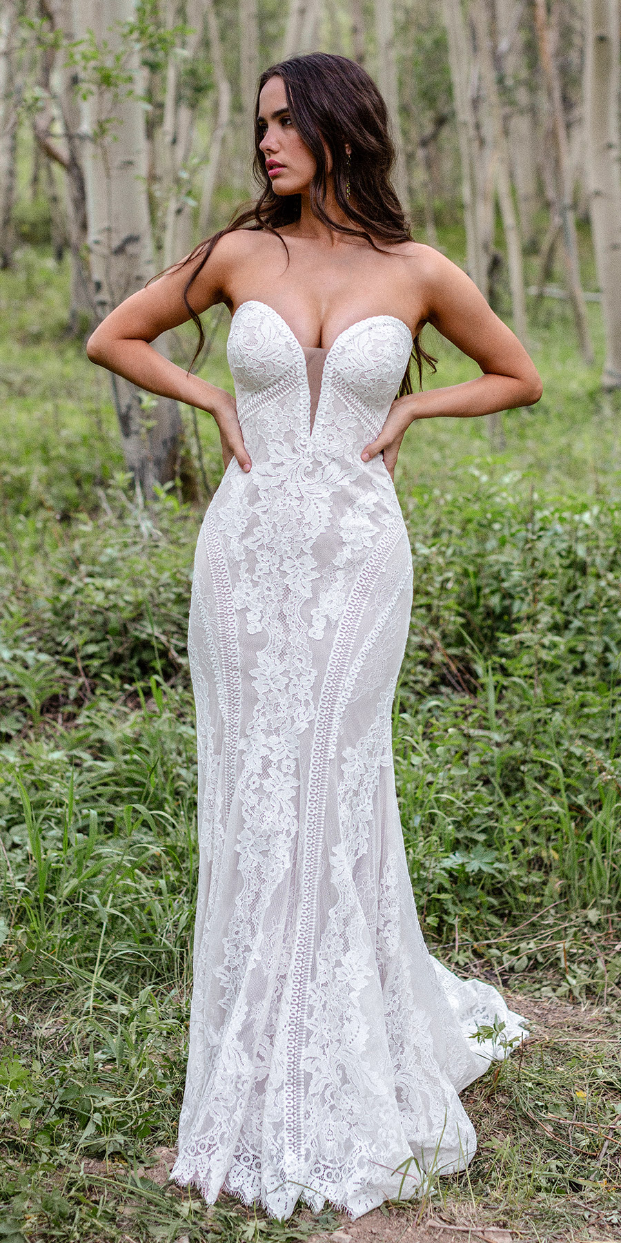 wilderly bride strapless sweetheart neckline fully embellished lace sheath wedding dress