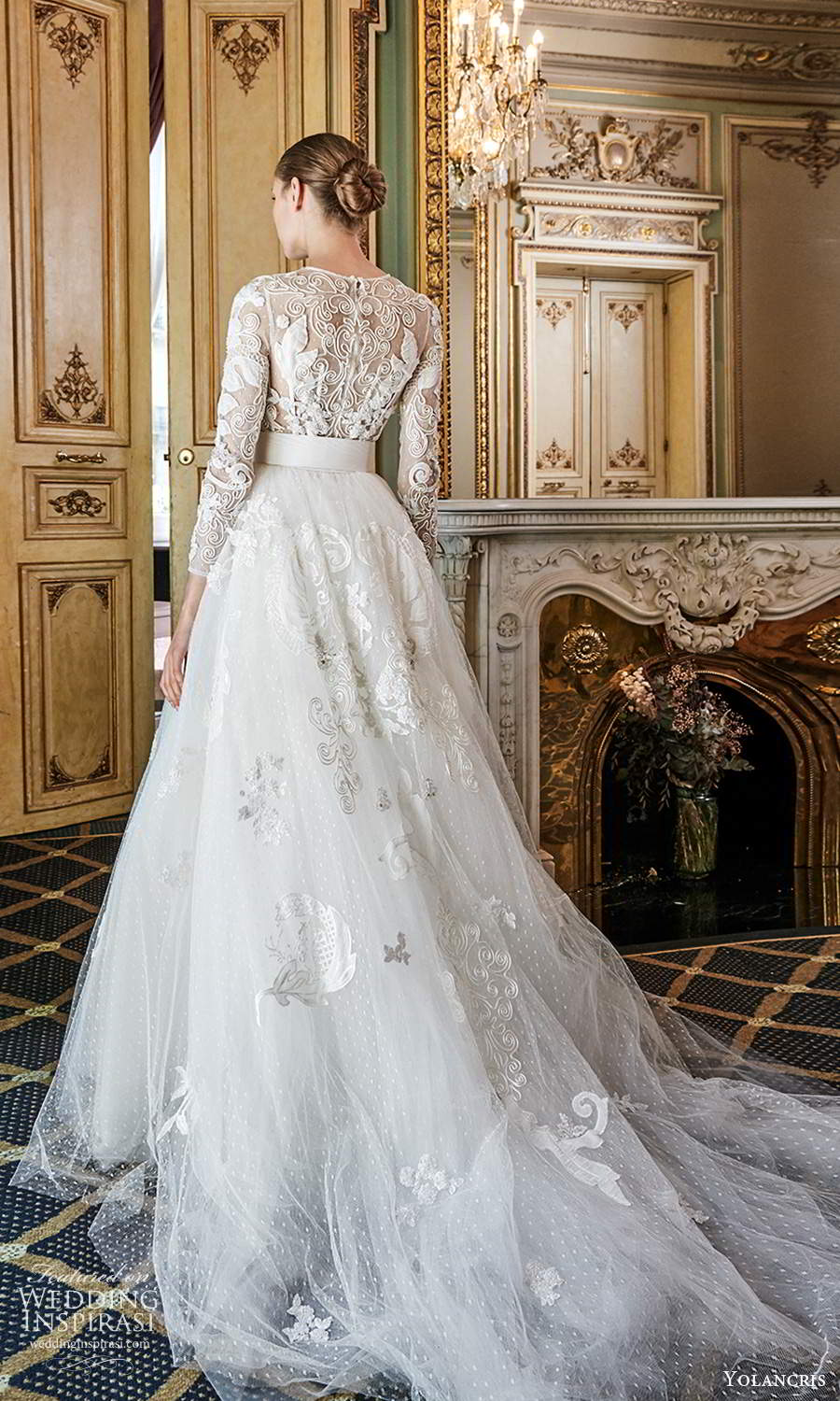 yolancris 2020 bridal couture 3 quarter sleeves jewel neckline fully embellished knee length sheath shift wedding dress a line ball gown overskirt belt chapel train (3) bv