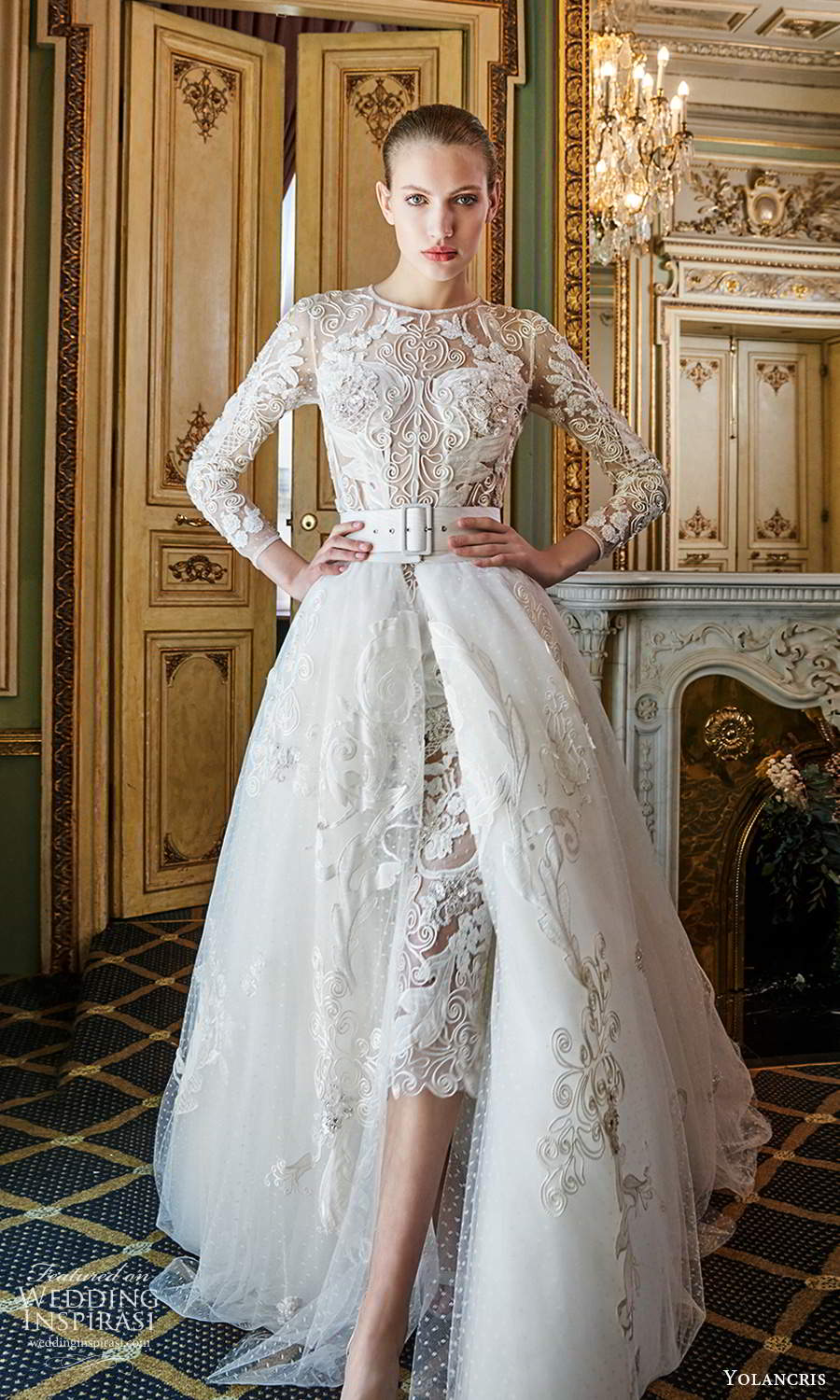 yolancris 2020 bridal couture 3 quarter sleeves jewel neckline fully embellished knee length sheath shift wedding dress a line ball gown overskirt belt chapel train (3) mv