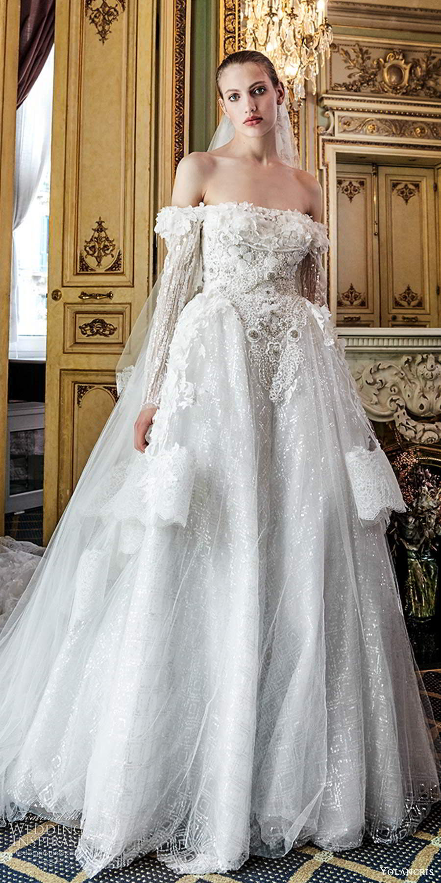 yolancris 2020 bridal couture long sleeves off shoulder neckline fully embellished a line ball gown cathedral train (1) lv