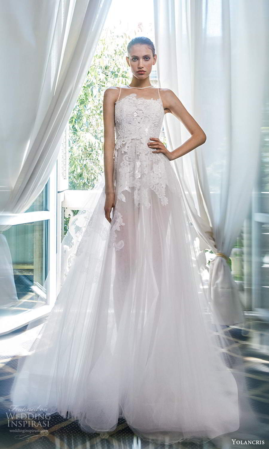 yolancris 2020 bridal couture sleeveless illusion strap sheer jewel neckline heavily embellished bodice a line ball gown wedding dress chapel train (8) mv