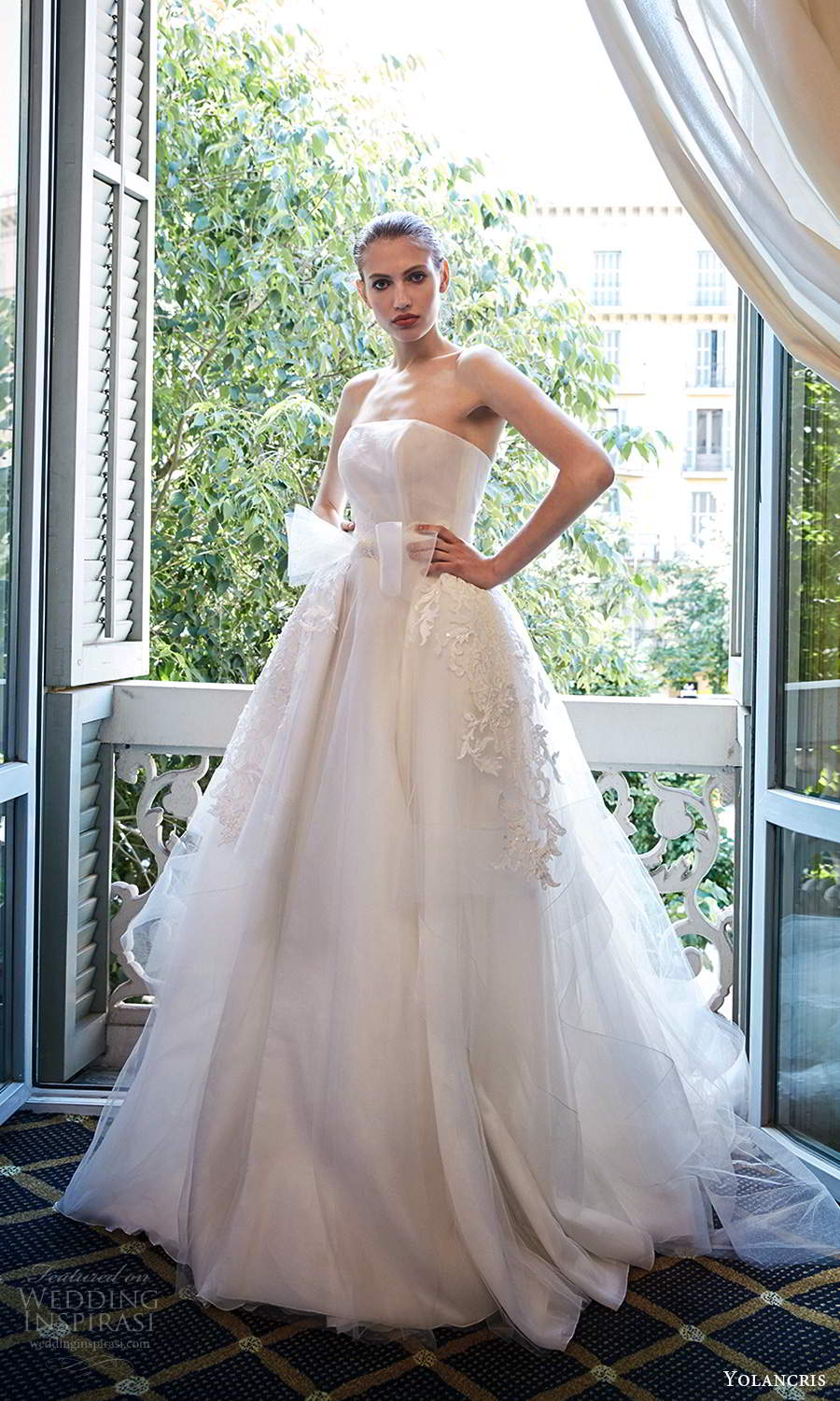 yolancris 2020 bridal couture strapless straight across neckline embellished a line ball gown wedding dress cathedral train (24) mv