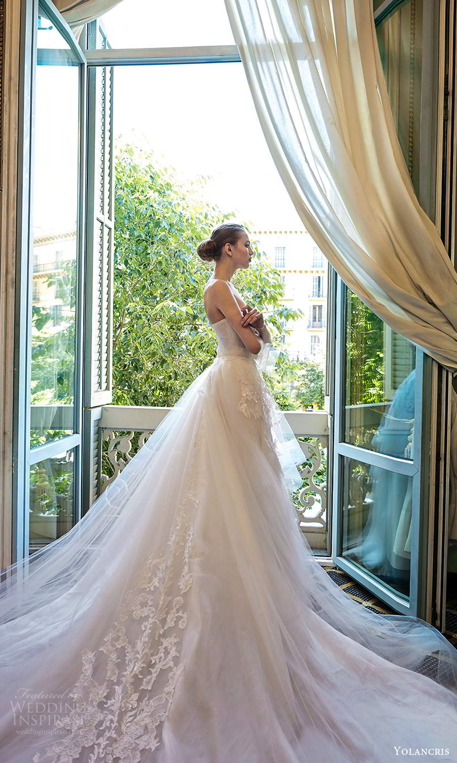 yolancris 2020 bridal couture strapless straight across neckline embellished a line ball gown wedding dress cathedral train (24) sv